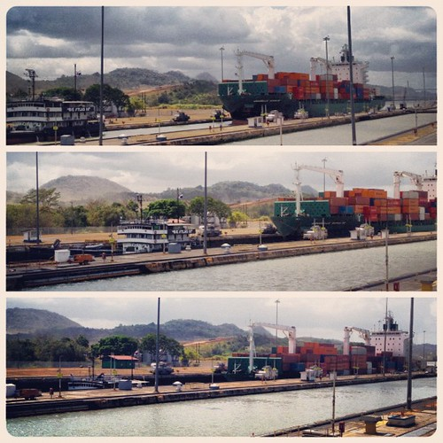 #boat #ship traversing the #panamacanal...being lowered via the locks. #engineering #panama #centralamerica #igerspanama