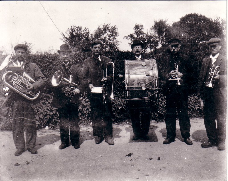 Woodchurch Band, late nineteenth century. From a copy of the photo provided to me by Charlie Bridger. His father (Charles) and grandfather (Tom) are both in this photo.