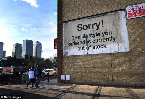 Sorry! The lifestyle you ordered is currently out of stock (Banksy billboard, near Canary Wharf)