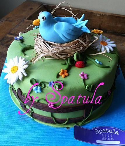 Kuş Yuvasında çiçek bahçesi Pasta by Demetin spatulasi
