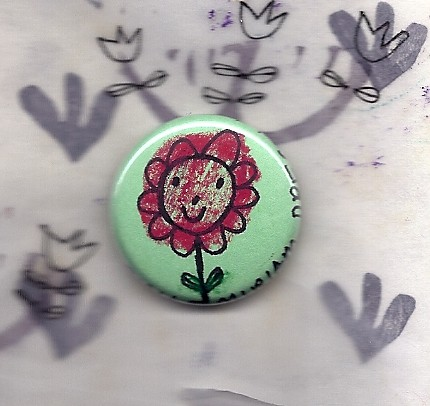 2012 green flwr little pin button