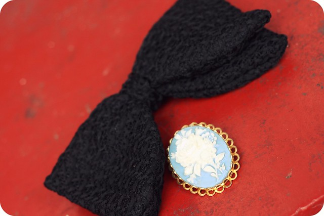 Vintage bow tie and brooch
