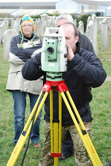 Volunteers learning to use a Total Station Theodolite (TST) at St Georges Church, Portland