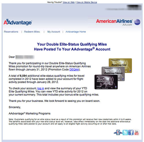 Email from American Airlines