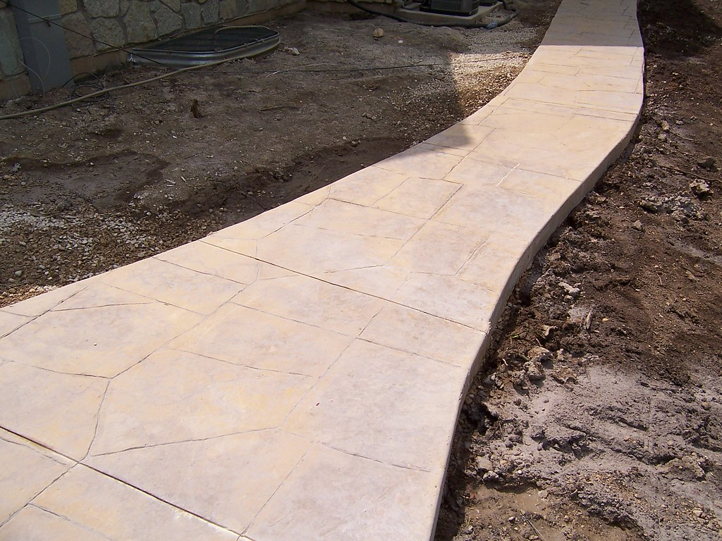 B g r construction stamped concrete for Removing concrete walkway