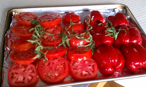 Prep for Piperade: Roasted peppers, tomatoes & caramelized onions