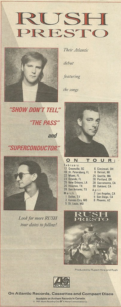 Feb-March-April 1990 Rush Presto Tour Ad
