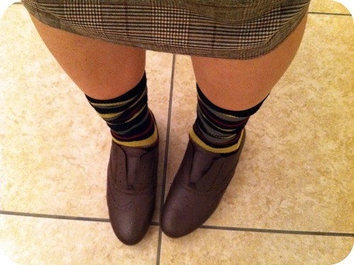 striped socks and oxfords