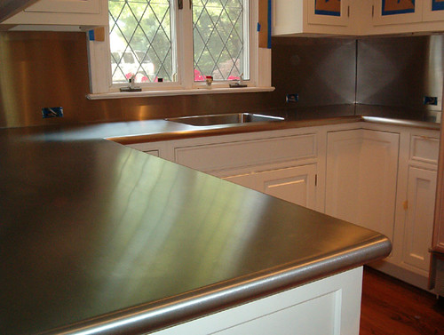 stainless counter and backsplash