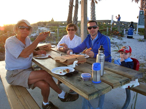 Pizza dinner at the beach to see the sun set!
