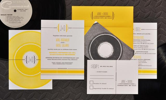 Record Wedding Invitations: Vinyl Record Letterpress Wedding Invitation