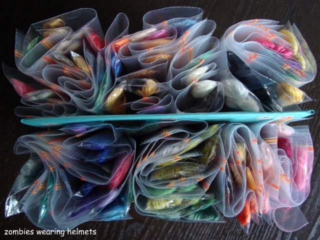 DIY embroidery floss storage & organization