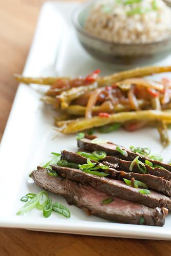 Korean-Style Steak with Sweet Chili Beans