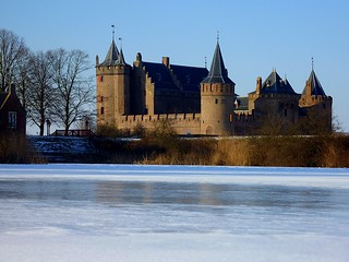 Muiderslot surrounded by ice