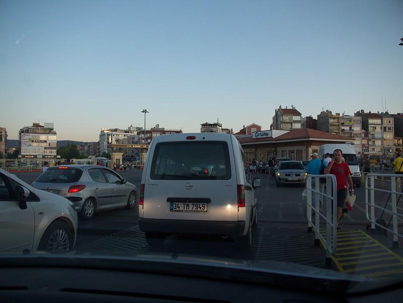 Leaving the ferry in Çanakkale