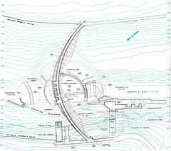 Plan de l'ensemble des ouvrages de barrage de Vouglans