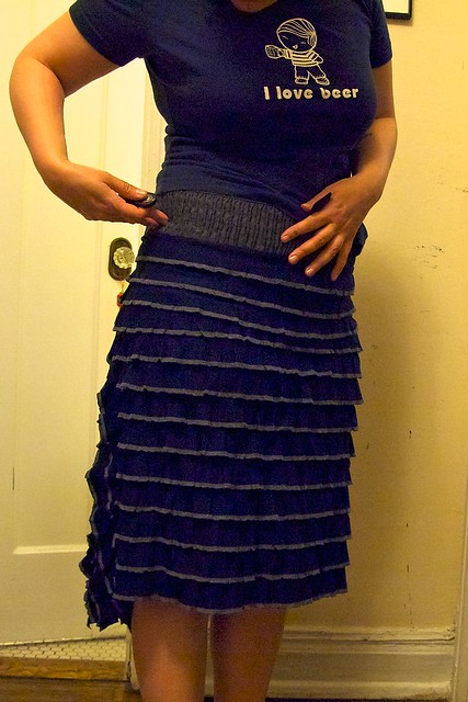 Late night sewing frenzy: well HELLO there ruffle skirt!