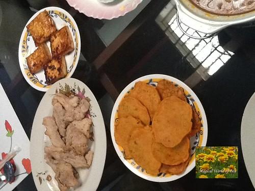pork samgyupsal, tofu and kimchi pajeon