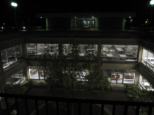 Night time photo of the UGL courtyard