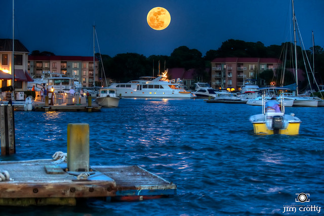 Supermoon Over Harbor Town by Jim Crotty