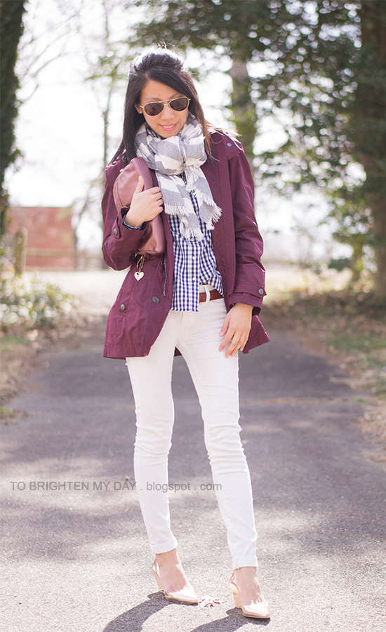 dark red jacket, striped scarf, navy gingham shirt, rose clutch and metallic wedges