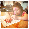 Jadyn doing school work. :)