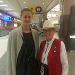 Iuliia Pakhomenko and Calgary Airport volunteer (Apr 30, 2016)