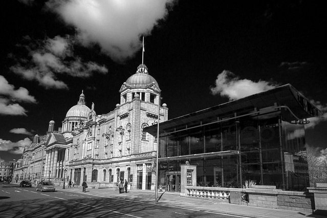 black & white view of His Majesty's theatre juxtaposing ancient and modern, Aberdeen, Scotland