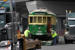 Streetcar 518 readied for trucking