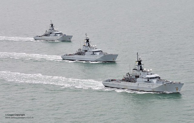 HMS Severn HMS Tyne and HMS Mersey on Fishery Protection Squadron Exercise
