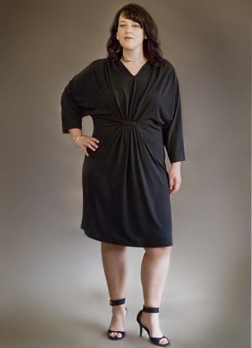 Plus Size Blk Gathered Dress