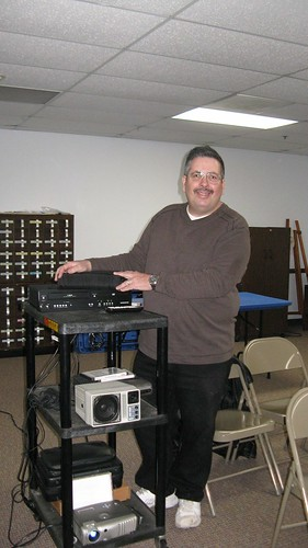 Eddie K setting up at the Hillside Public Library.  Hillside Illinois USA.  Saturday, February 25th, 2011. by Eddie from Chicago