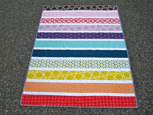Rainbow stripe quilt