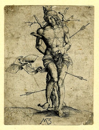 Martyrdom of St Sebastian. engrav. Master MZ c.1500-03. German. BM by tony harrison