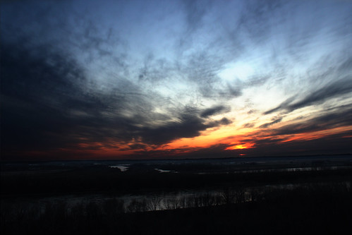 blue sunset orange usa sun cold sol night clouds river dark solar missouri