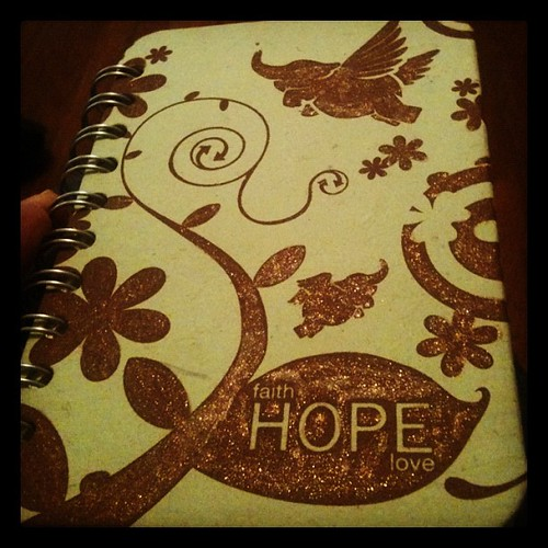 #30lists notebook - used glitter pen on it