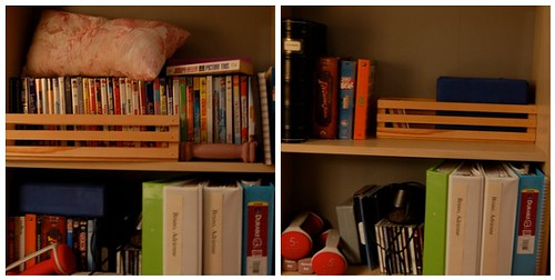 Bookshelf before and after
