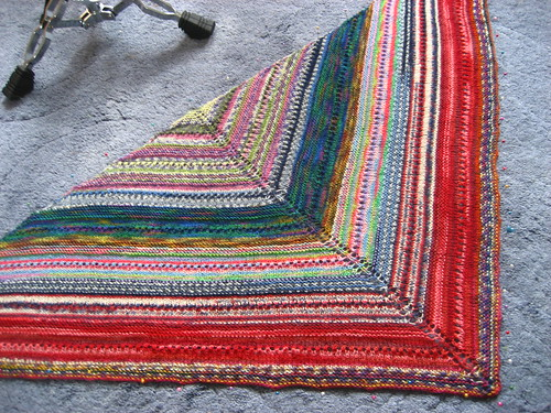 Multicoloured sock yarn shawl - blocking