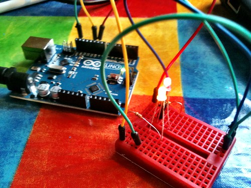 Our 2nd Arduino project - alternate red & yellow pulsing lights