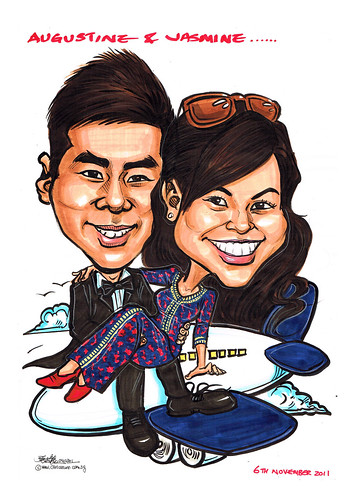 wedding couple Sarong Kebaya caricatures