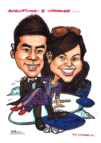 wedding couple Sarong Kebaya caricatures