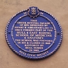 Photo of Hull & East Riding School of Medicine and Anatomy and Henry R. Abraham blue plaque