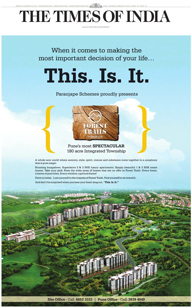 Launch Ad of Paranjape Schemes' Forest Trails 180 Acre Township at Bhugaon Pune 411 042 - 1