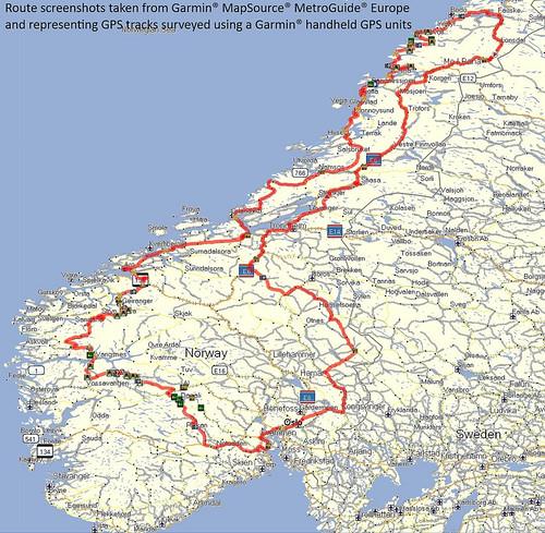 Norwegenkarte mit eingezeichneter Route