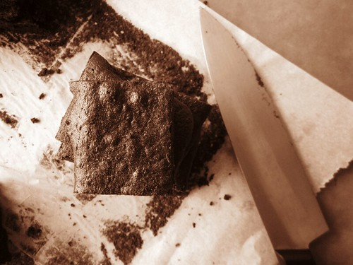 carob brownie in sepia