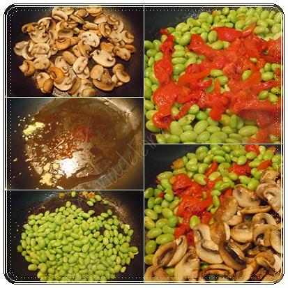 Preparando la ensalada con edamames