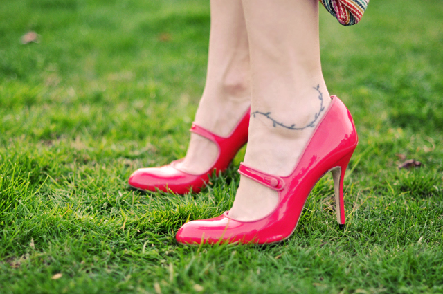 pink manolo mary jane  shoes  on green grass