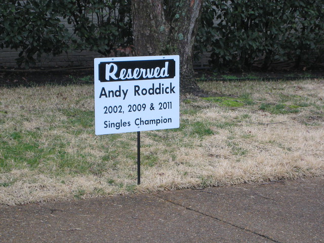 reserved parking for Roddick