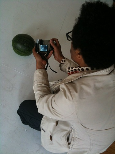 Thomas photographing the Dark Room Collective Reunion Tour's honorary watermelon