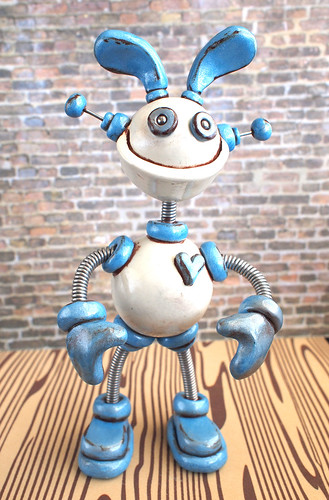 Robot Sculpture Blue Brodie Easter Grungy Bunny by HerArtSheLoves